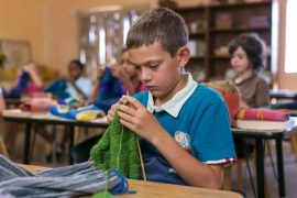 Third Grader Knitting